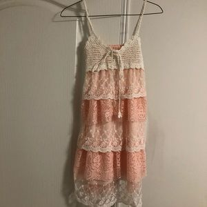 Crochet and lace ruffled dress OS NWOT